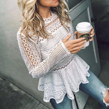 Lace long sleeve hollow top