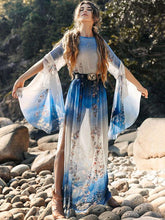 Dovechic Gradient Flared Sleeves Maxi Dress