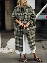 Classic check folding collar loose long sleeves long coat