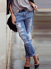 Womens Urban Leisure Straight Hole Jeans