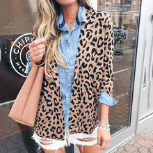 fashion leopard print patch pockets long sleeves blazer