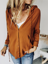 Casual Single Row Button Solid Color Cardigan