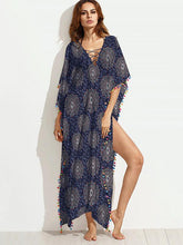 Dovechic Fashion Tassel Floral-Printed Round Neck Short Sleeve Loose Kaftan Dress