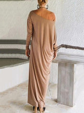 Dovechic Elegant Solid Color Long Sleeve Round Neck Loose Maxi Dress
