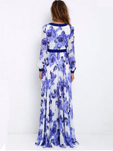 Floral Printed Deep V-neck Long Sleeves Maxi Evening Dress