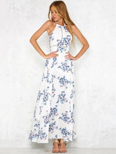 Dovechic Blue Floral Print Halterneck Sleeveless Maxi Dress