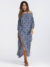 Dovechic Off-the-shoulder Split-side Maxi Dress