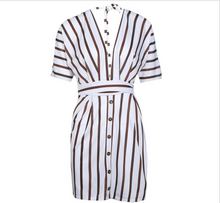 Bohemian Beach Striped Button Sexy Deep V Neck Loose Dress