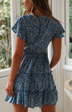 Cotton blue floral garden dress