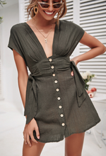 Dark green V-neck button  dress