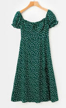 Green Puff Sleeve Midi Dress