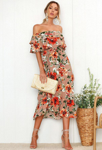 Chiffon Print Flounces Midi Dress