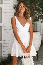 White V-neck Ruffled Mini Dress