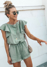 Cotton Casual Ruffle Sleeve Romper