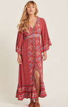 Bohemian Red Sunflower Tie Dress