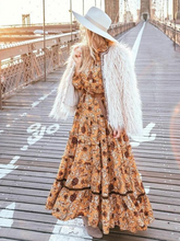 Chiffon Long Sleeve V-Neck Lantern Sleeve Long Maxi Boho Dress