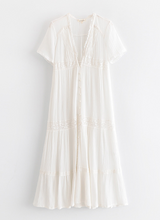 Cotton White Lace Bohemian Midi Dress
