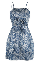 Cotton Blue Floral Boho Halter Dress