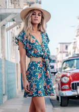 Chiffon Deep V-neck Ruffle Print Dress