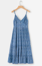 Bohemian Blue Floral Holiday Strap Dress