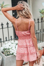 Fashion Holiday Pink Floral Strap Dress