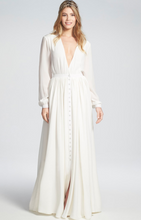 Bohemian Deep V-neck White Evening  Dress