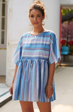 Cotton Blended Striped Stitching Dress-2color