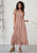 Bohemian One-shoulder Ruffled Floral Dress