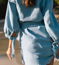 Blue Embroidered Vacation Denim Dress