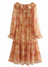 Bohemian Orange Flower-dream Midi Dress