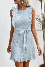 Blue Holiday Embroidered Lace Mini Dress