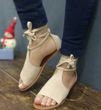 Suede Roman Lace-up Flat Sandals-3color