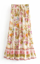 Beige Flower Bloom Bohemain Skirt