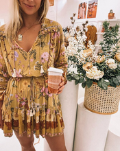 Yellow Wild Flowers Tassel Boho Mini Dress
