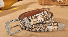 Artificial rhinestone inlaid leopard belt-2color