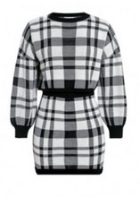 Black &White Sexy Plaid Sweater Skirt Suit