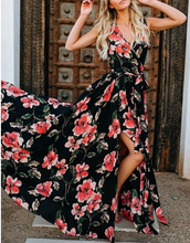 Chiffon Bohemian Red Floral Maxi Dress