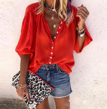 Red Button Holiday Top