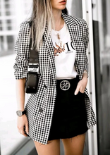 Casual Street Black Plaid Double Breasted Blazers