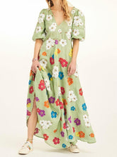 Floral Embroidery V-neck Puff Sleeve Midi Dress
