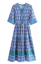 Blue Beach Bohemian Midi Dress