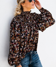 High Collar Long-sleeve Floral Shirt-3color