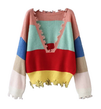 Colorful striped V-neck Tassel Sweater