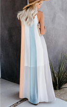 Holiday Chiffon Rainbow Striped Maxi Dress