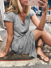Solid Cotton-Blend Casual V Neck Dresses