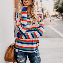Fashion Rainbow Striped Long Sleeve Top