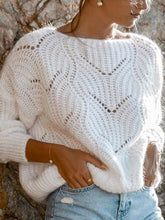 casual round neck loose white Hollow Out sweater