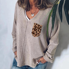 Casual V Neck Pure Color Leopard Print Sweater