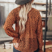 Fashion V-neck Leopard Print Long Sleeve Blouse