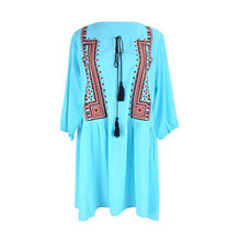 Blue Embroidered Tassel beach cover-ups